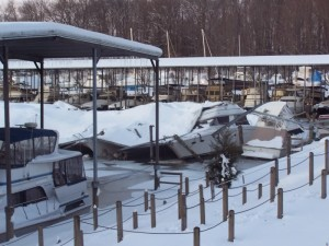 boat shed snow collapse