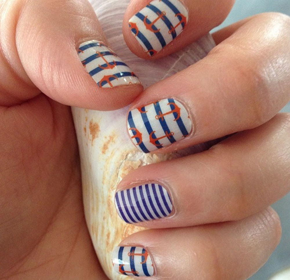 Nautical Nail Designs Using Jamberry Wraps and Sally Hansen Gel ...