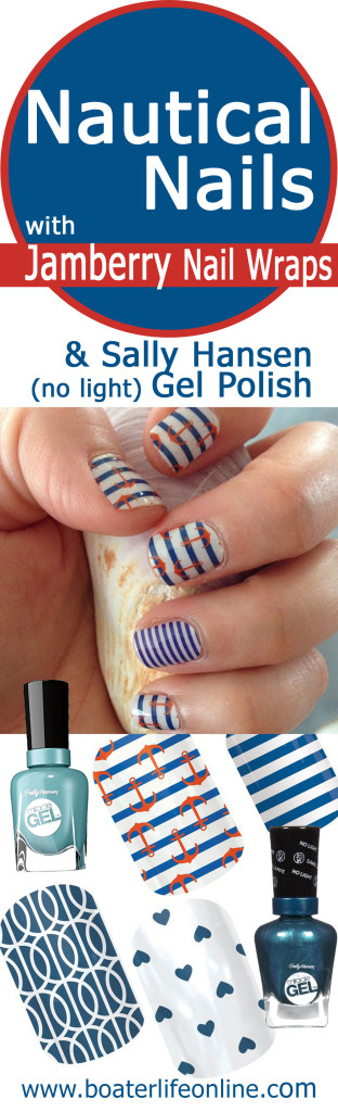 How To Create Nautical Nail Styles Accented With Jamberry Wrap Decals And Using Sally Hansen No Light Gel Polish Have It Last Up 2 Weeks