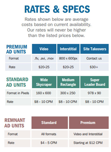 marine ad rates and specs