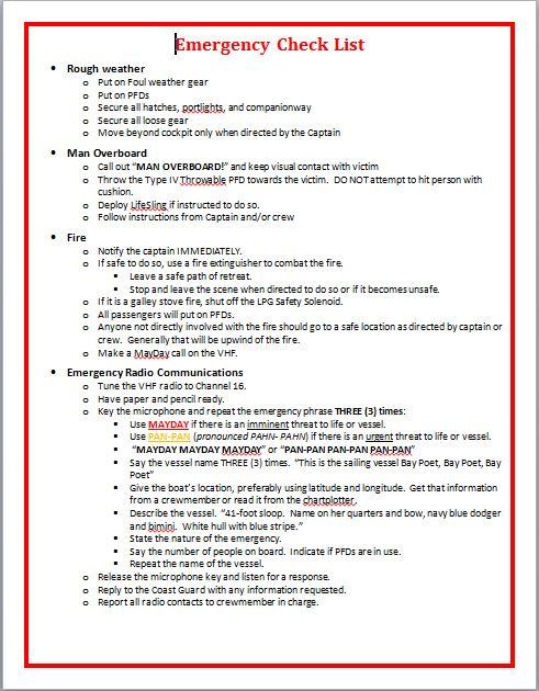 boating emergency checklists