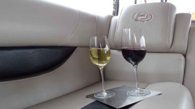 wine glasses spilling boat