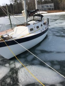 frozen water sailboat