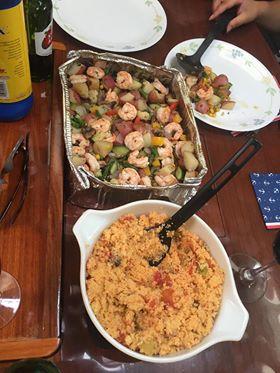 Quinoa, shrimp, and asparagus